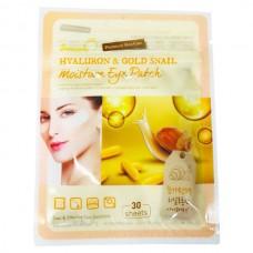 Тканевые патчи с гиалуриновой кислотой и муцином золотой улитки для кожи вокруг глаз 30 шт SkinApple