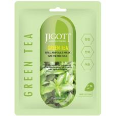 Tканевая маска с эстрактом зеленого чая JIGOTT Green Tea Real Ampoule Mask